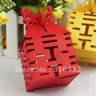 M1 Free Shipping Jewelry Candy Box Wedding Butterfly Red