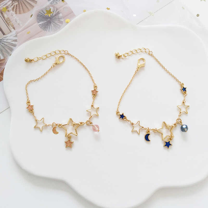 Korean Style Simple Sweet Cute Size Stars Moon Pendant Bracelet Temperament Girl Women Exquisite Beautiful Starry Sky Jewelry