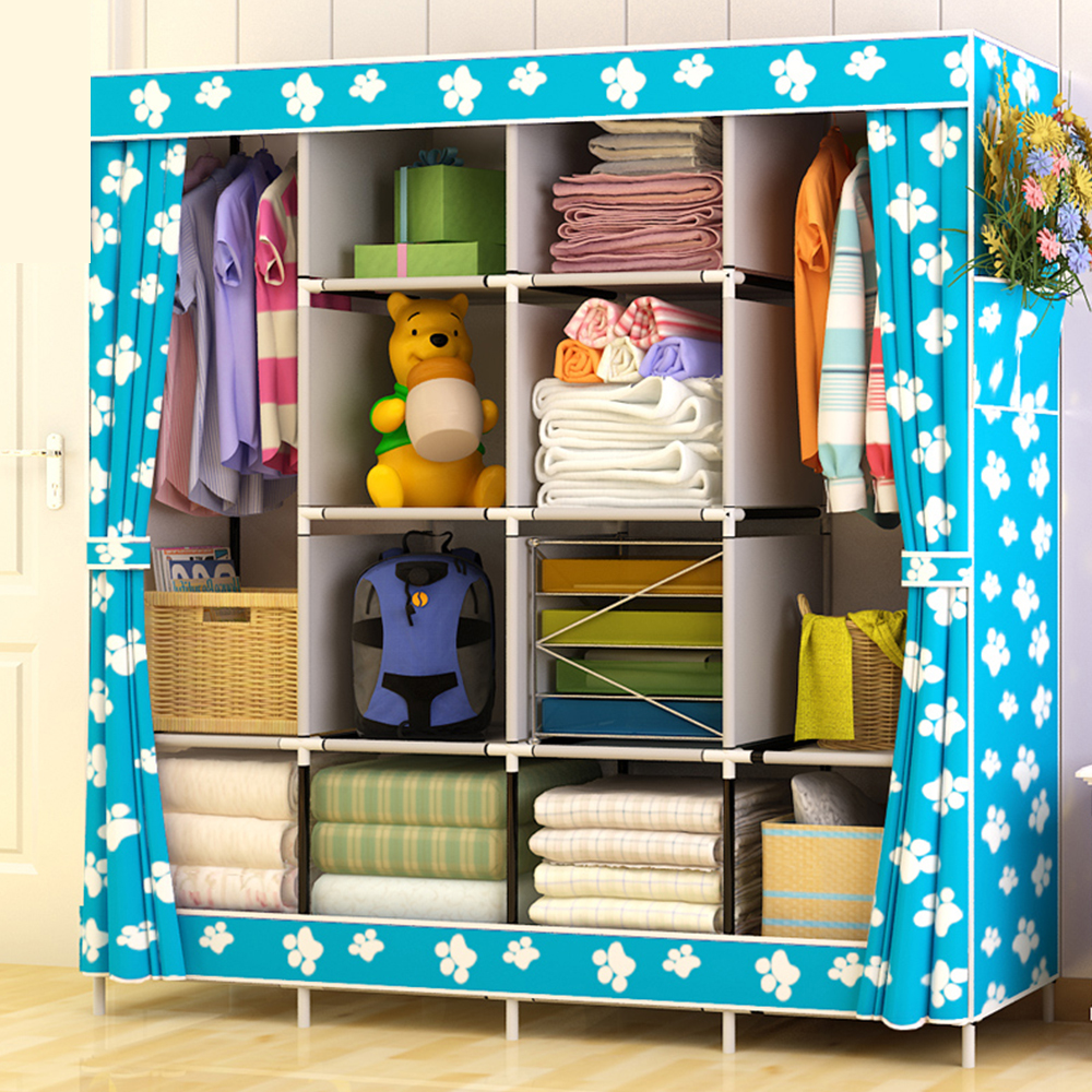 Delivery Normal Large Size Modern Simple Wardrobe Fabric Folding Cloth Storage Cabinet DIY Assembly Easy Install Reinforcement