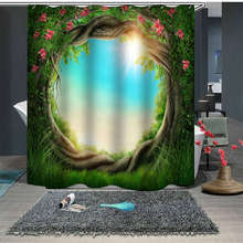 Shower Curtain Nature Forest Pattern douchegordijn Polyester Washable Bath screens Colorful Curtains for Bathroom