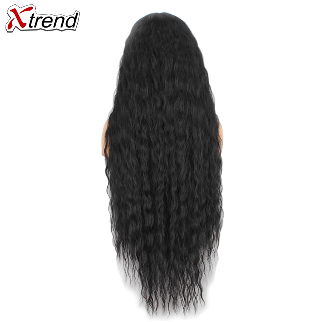 Xtrend 40 inch Synthetic Lace front wig black 613 Red Brown Ombre wigs for women cosplay afro long hair curly Middle Part 1