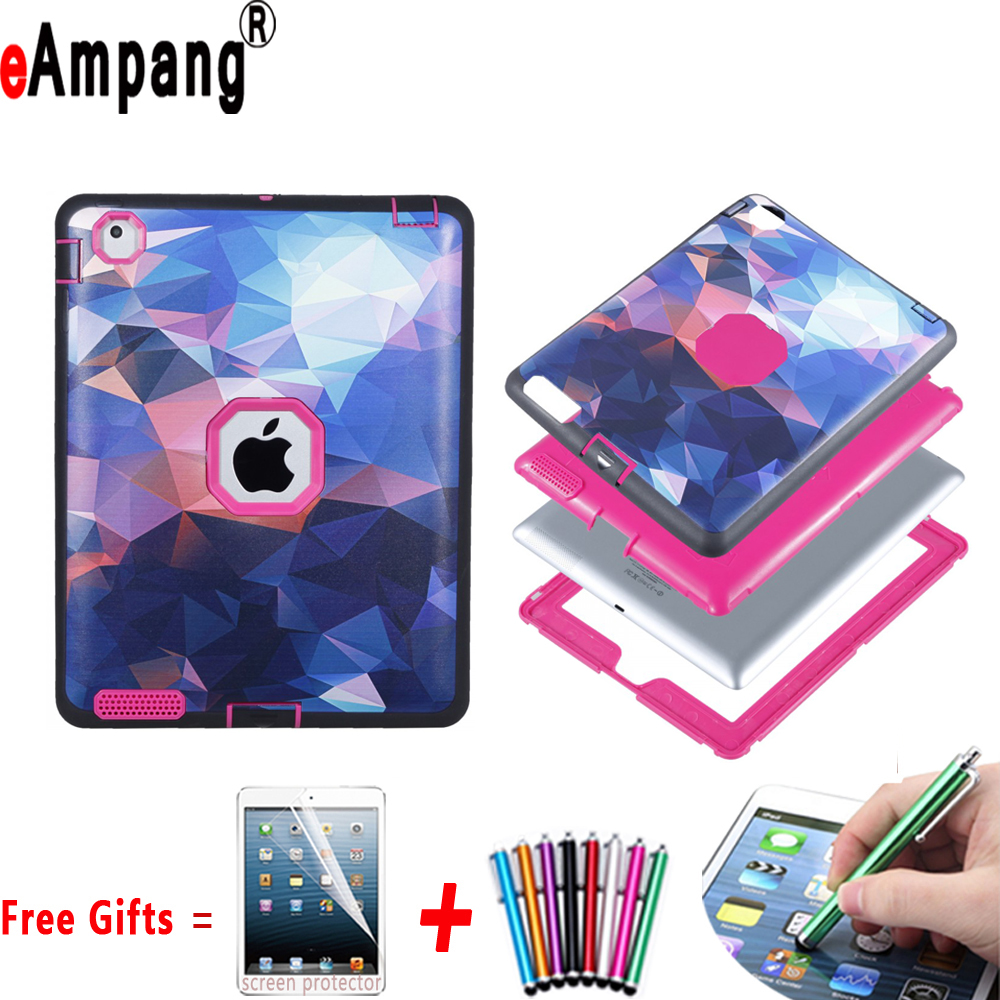 цена на Case for Apple iPad 2 3 4 Resistant Hybrid Three Layer Fashion Colorful Full Body Protector Cover Case for iPad 2 3 4 9.7 inch