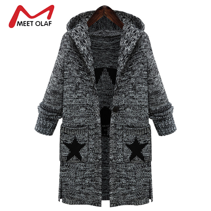 2017 Plus Size 5XL Women Knitted Sweaters Cardigans Female Hooded Thick Stars Knitting Long Coats casaco feminino inverno Y1212