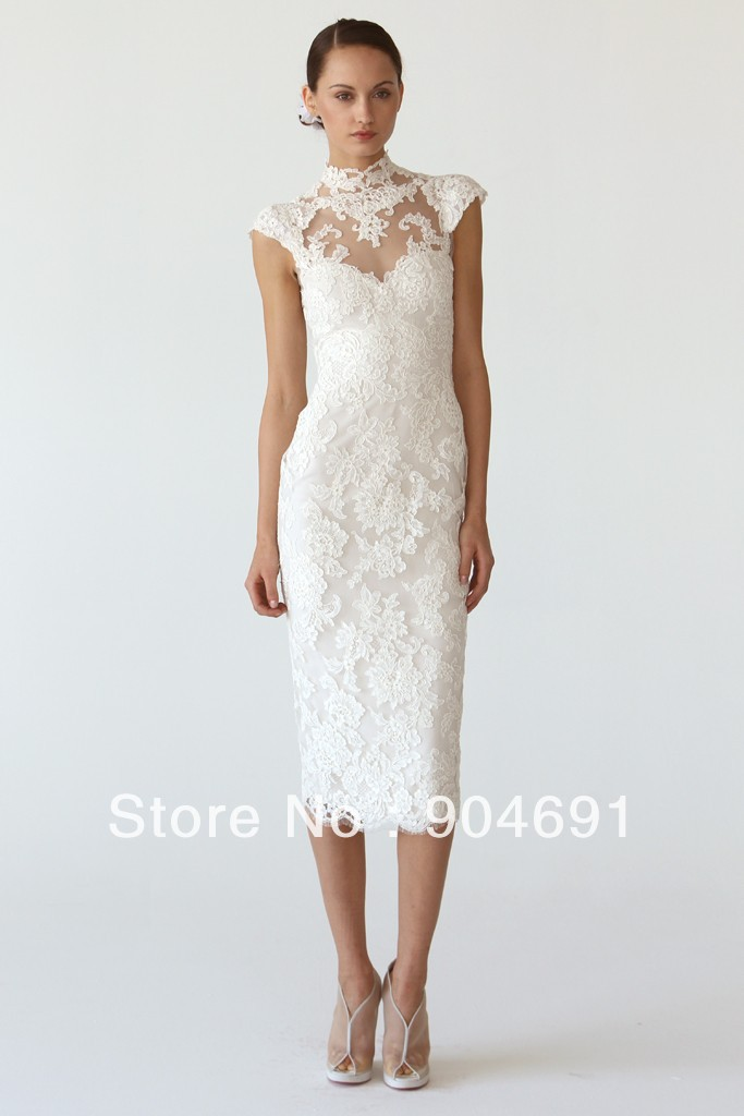 Short Wedding Dresses Choker Neck Ankle Length Little White Lace Bridal Gown Sheath Dress Sz 4 6 8 1012 14 Custom In From Weddings