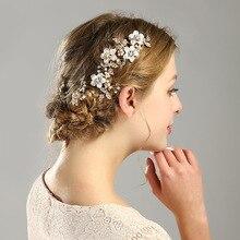 Фотография Stunning Elegant Golden Flower Leaf Rhinestones Wedding Hair Comb Bridal Headpiece Crystal Hair Accessories Bridesmaids Jewelry