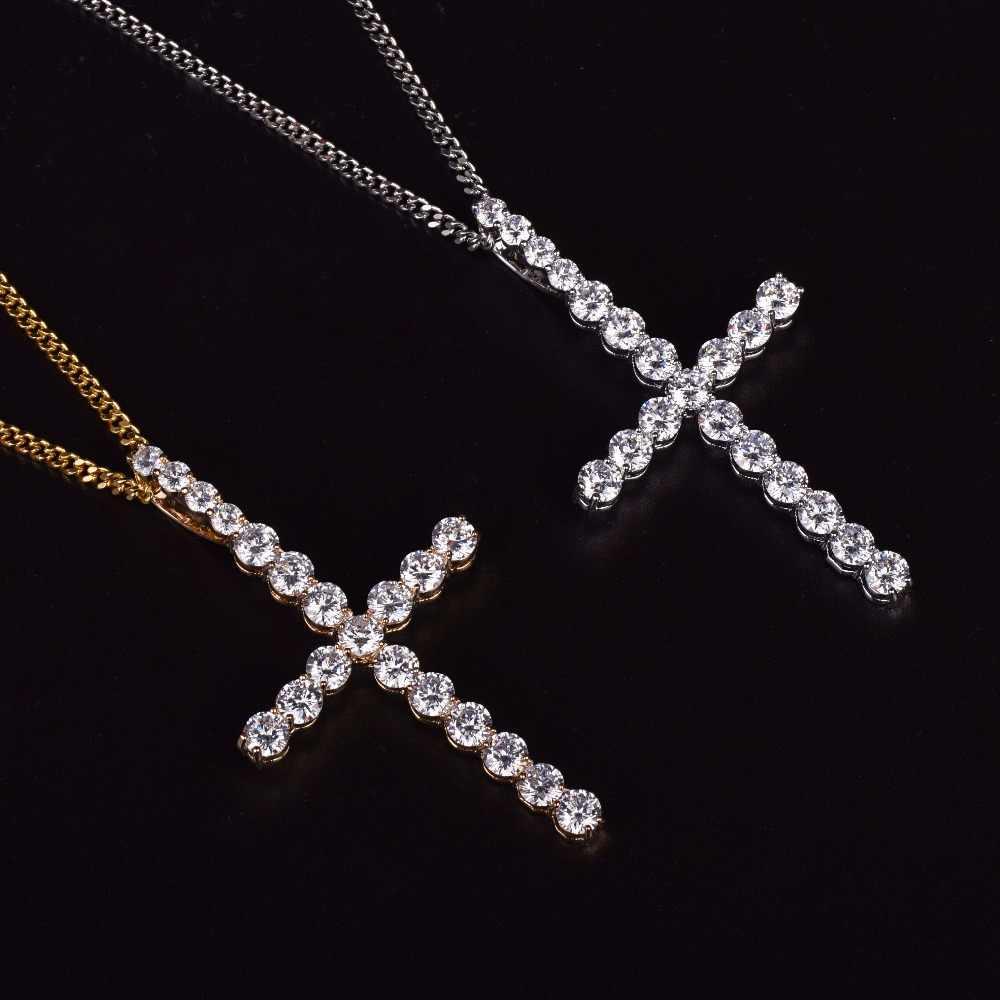 Mężczyźni kobiety cyrkon krzyż wisiorek złoty kolor srebrny materiał miedziany naszyjnik łańcuch moda biżuteria Hip Hop
