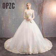 בציר תחרה רקמת יוקרה רכבת 100 cm חתונה שמלות אלגנטי יפה בנות נסיכה שמלות vestido דה noiva כלה שמלה
