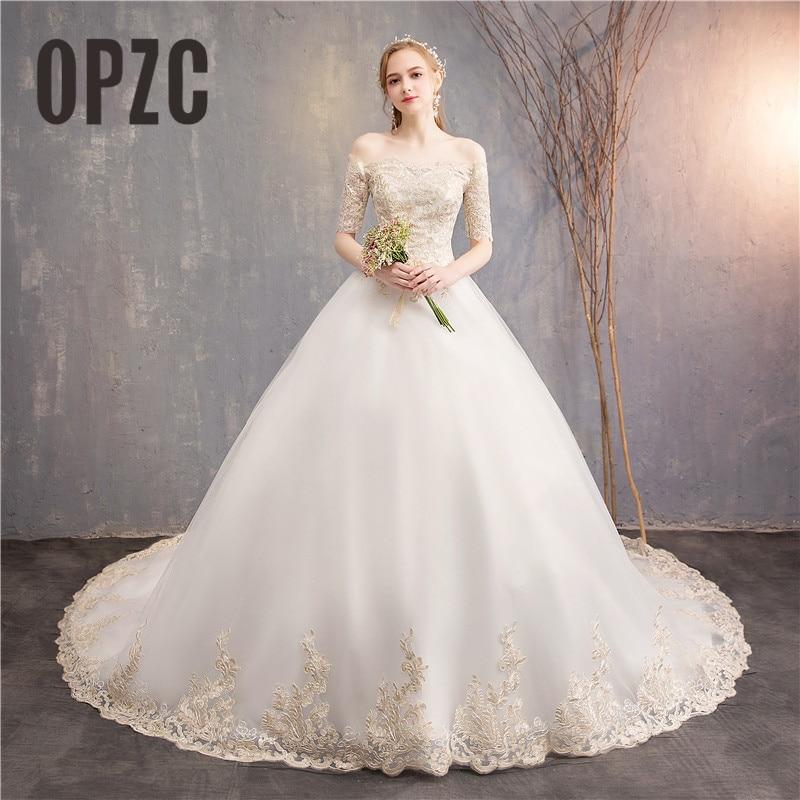 Vintage Lace Embroidery Luxury Long Train Half Sleeve wedding dresses elegant beautiful girls gowns vestido de noiva bride dress