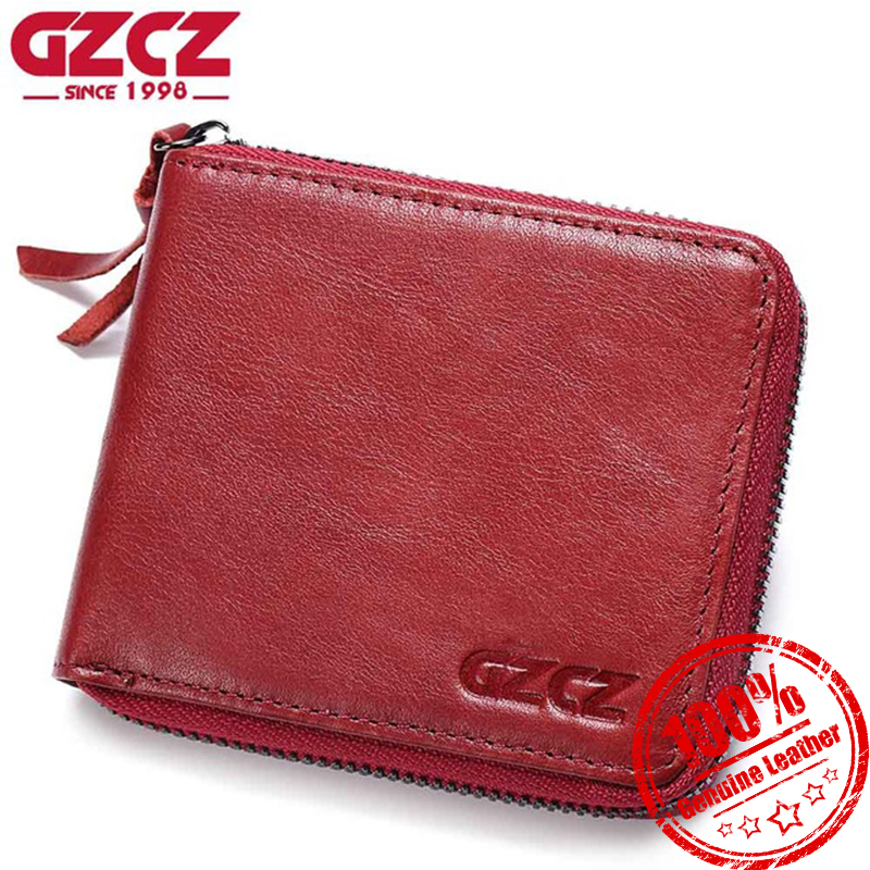 GZCZ Genuine Leather Wallet Women Card Holder Female Coin Purse Small Hasp Zipper Clamp For Ladies Money Clutch