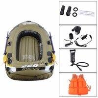 Гребли резиновые лодки комплект надувные ПВХ Рыбалка дрейфующих спасательный плот спасательный жилет Двухстороннее Электрический насос