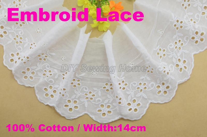 ②14 cm ancho 100% algodón bordó tela del ajuste del guipure de la ...