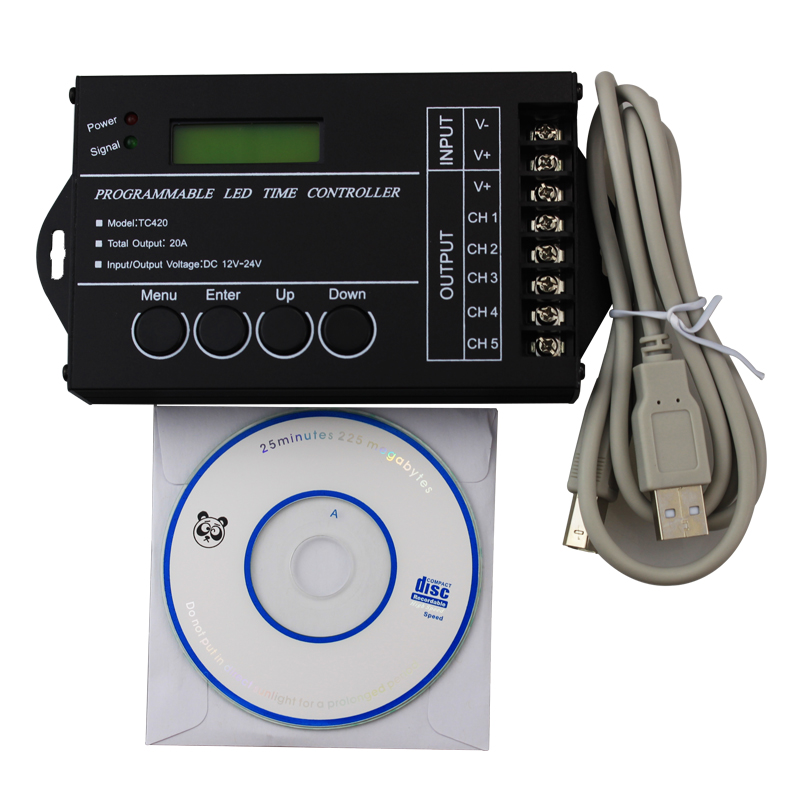ФОТО 5CH * 4A 12V-24V programmable remote control time controller for RGB led strip USB cable commen anode timer dimmer
