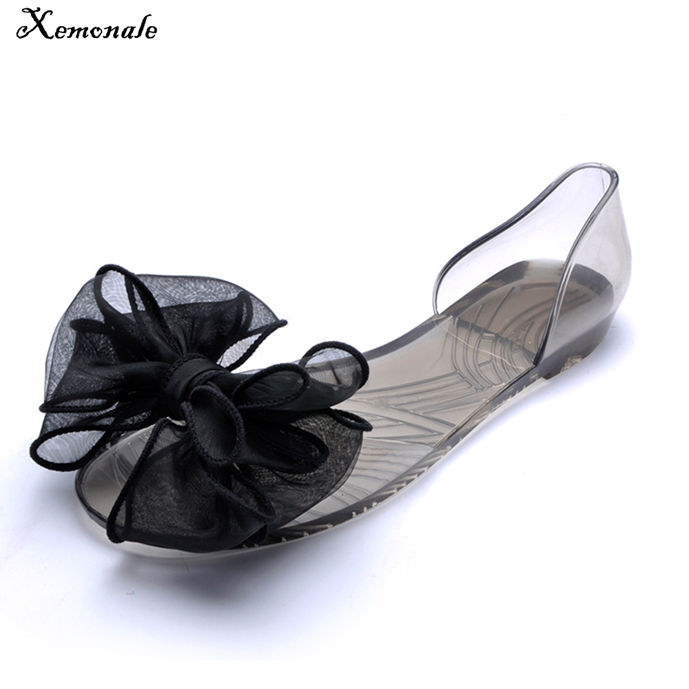 349f1518f16bf6 Detail Feedback Questions about Xemonale Sweet Bowknot Women Sandals Summer  Jelly Shoes Woman Crystal Transparent Flats Casual Beach Ladies Shoes  WZA0262 on ...