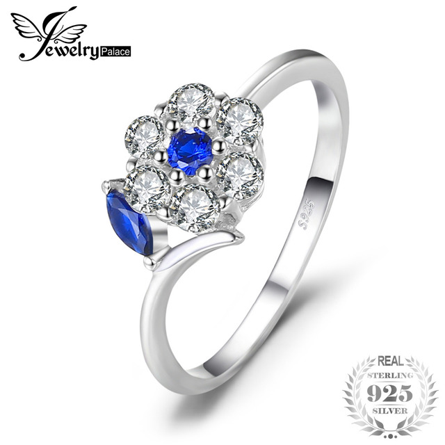 JewelryPalace Brand 0.73ct Created Blue Spinel Flower Finger Ring For Women 925