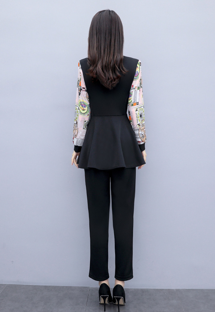 L-5xl 2019 Black Printed Two Piece Sets Women Plus Size Fake Two Pieces Tunics Tops And Pants Suits Elegant Korean Office Sets 26