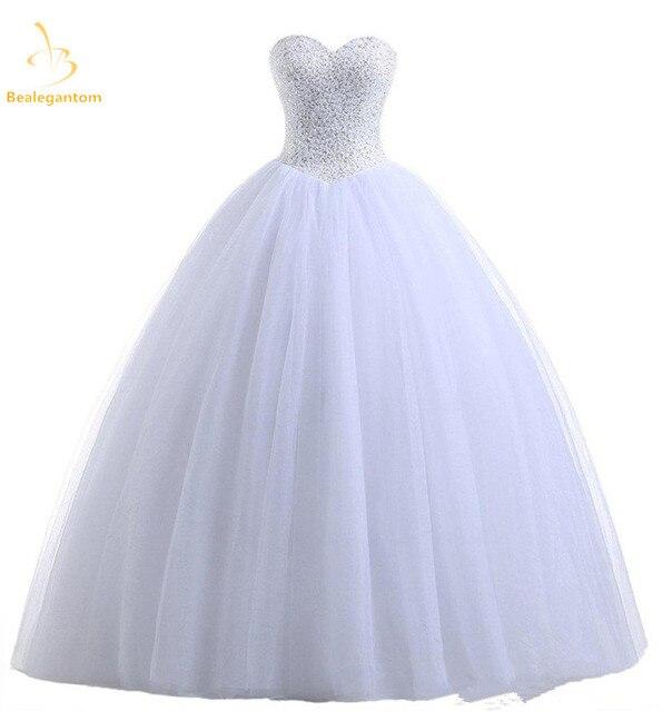 ac5296ed9 Bealegantom blanco vestido De Quinceanera Vestidos 2018 lentejuelas cuentas  dulce 16 vestido por 15 años