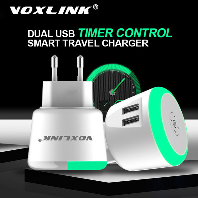 VOXLINK USB Charger 5V 2.4A LED Timer Control Smart charger for iPhone iPad Samsung Galaxy s9 s10 Galaxy HTC Xiaomi LG Huawei Ne
