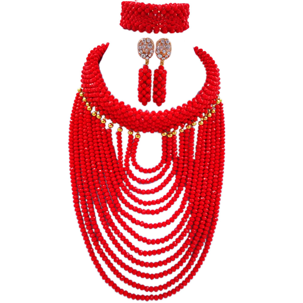 Gorgeous Red Crystal Beaded Nigerian African Beads Jewelry Set Dubai Gold Wedding Jewelry Set Beads Set Free shipping WDK-004 цена и фото