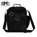 Personalizados lancheiras isolados para homens, Meninos preto Lunch Box térmica sacos para a escola, Adultos saco de comida, Crossbody almoço Container