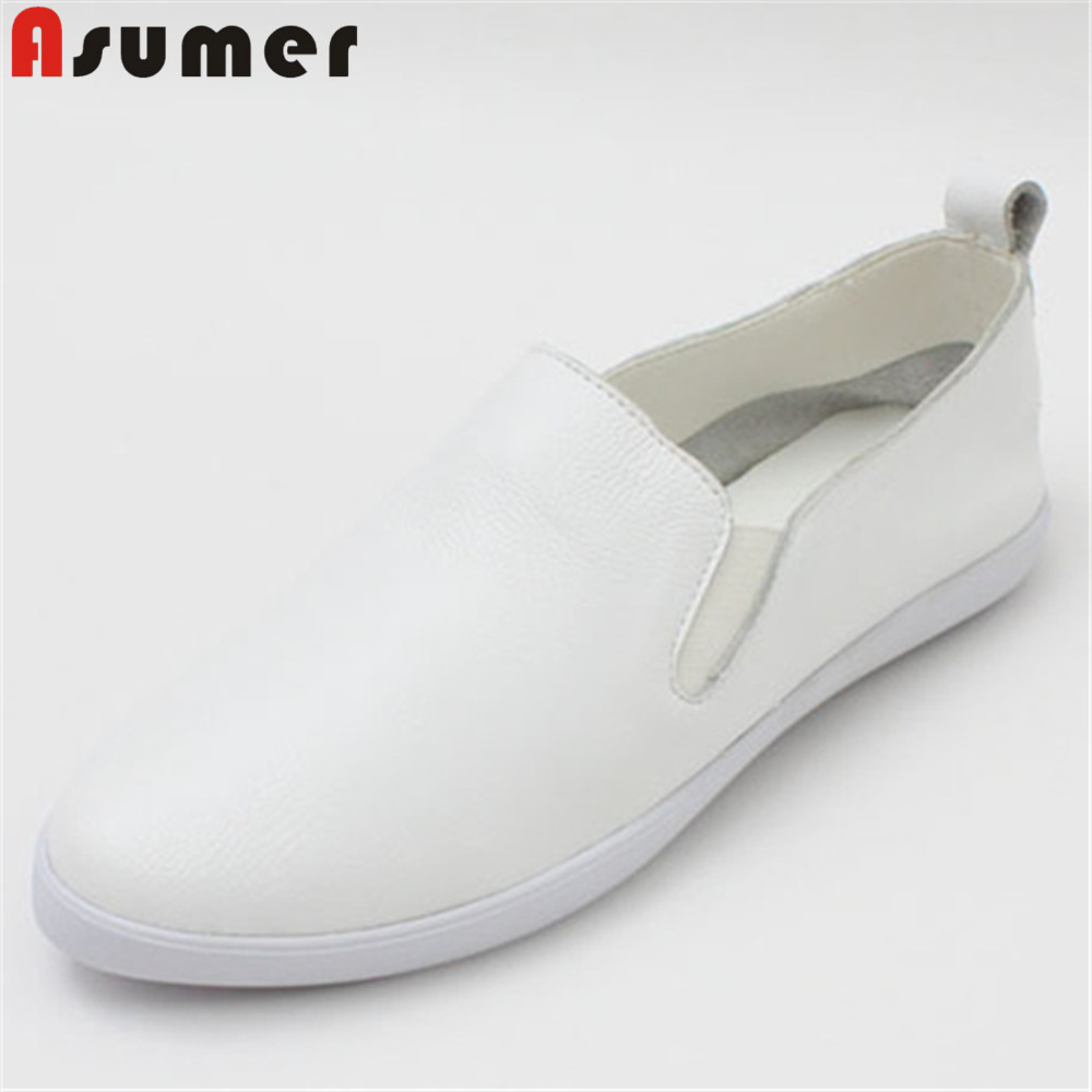 ASUMER white fashion spring autumn flat shoes woman round toe casual comfortable women genuine leather flats simple asumer 2018 fashion spring autumn new arrival flat shoes woman round toe lace up casual women genuine leather flats sneakers