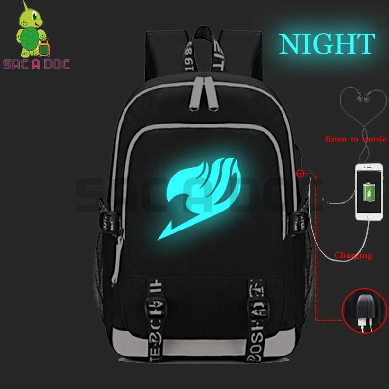 Anime Fairy Tail Natsu Gray  Backpacks Luminous Laptop backpacking Backpack for Teenage Girls Boys School Bags USB Charging
