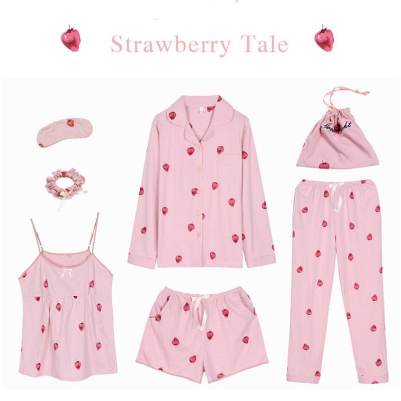 JULY'S SONG Pink Cotton Women 7 Pieces Pajamas Sets Women  Pajamas Sleepwear Sets Spring Summer Autumn Homewear Top And Shorts
