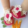 Lã de tricô Elástico macio e confortável Rosa Macia Recém-nascidos Meninos Meninas Handmade Crochet Knit Sandálias Sapatinho Crib Shoes