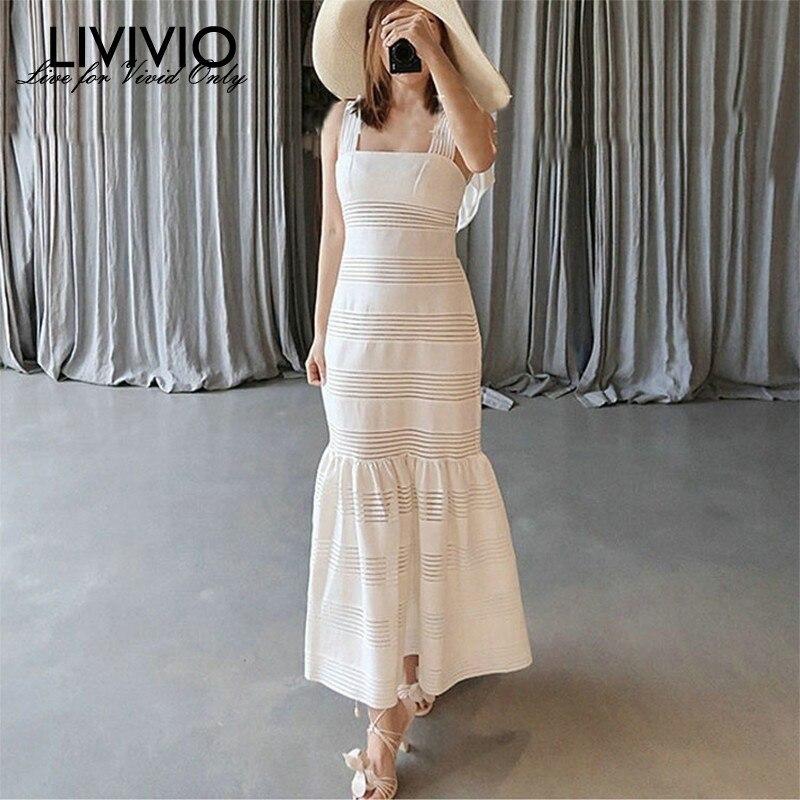 [LIVIVIO] élégante soirée robe de sirène femmes taille haute à lacets Midi sangle robes femme mode vêtements 2019 été