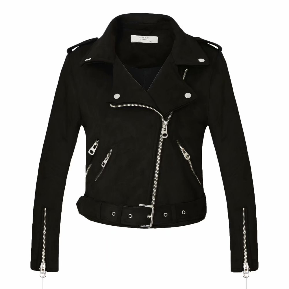 women candy color faux   leather   short motorcycle jacket zipper pockets sexy punk coat ladies casual outwear tops casaco Black