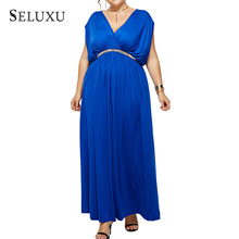 Seluxu Plus Size Summer Dresses Women 2019 Casual Elegant Sleeveless Sexy Ladies Maxi Solid Dress