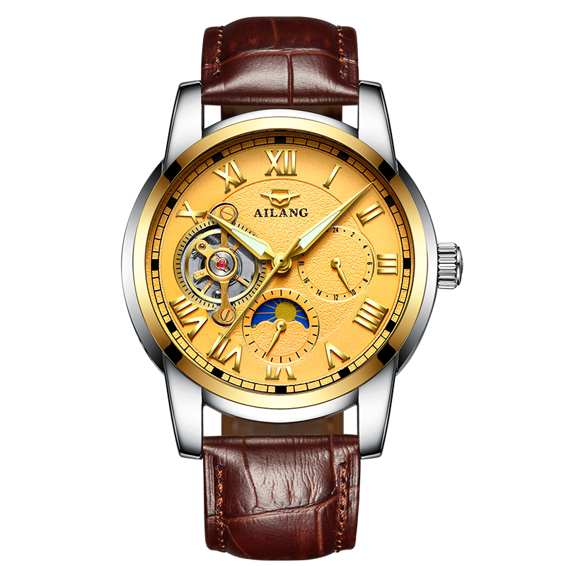 лучшая цена AILANG 8520 Switzerland watches men luxury brand automatic mechanical Tourbillon Moon phase high-quality waterproof Business