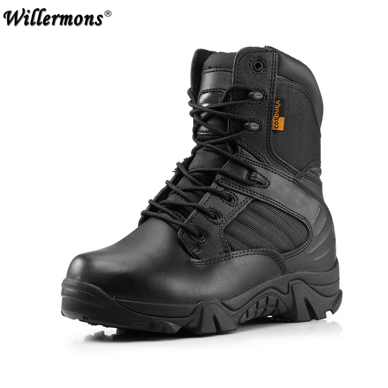 Winter Army Men's Military Outdoor Desert Combat Tactic Mid calf Boots Men Snow Tactical Boots Botas Hombre Zapats-in Basic Boots from Shoes