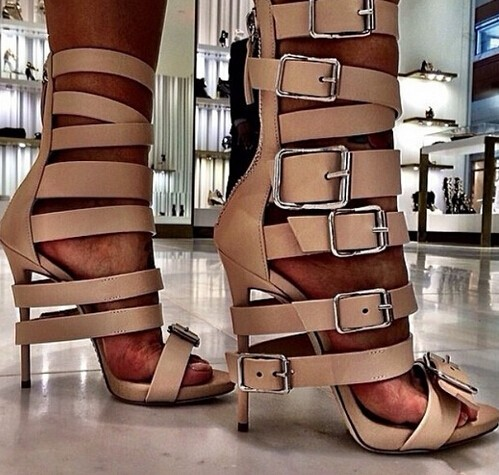 ФОТО Newest High Quality Shoes Hot Sale Fashion Cheap Price Ankle Buckle Big Size 10 Black&Nude High Heels Buckle Dress Shoes Leather