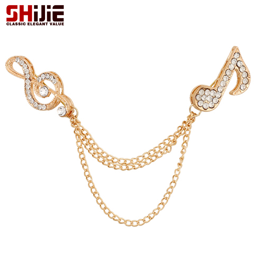 Gold Silver Music Noto Collar Brooches For Women Men Tassel Chain Lapel Pin Fashion  Crystal Brooch Pins Shijie Jewelry Broches - us70 a9cb704ea937