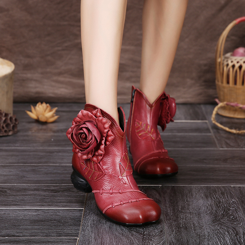 ФОТО 2017 Autumn Thick Sole women mid heel casual ankle boots comfortable handmade genuine leather shoes vintage women short boots