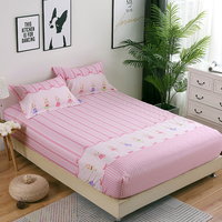 Stripe Fitted Sheet Single Double king Bed cotton Fitted Bed Sheet For Children Adults Soft Bed Linens pink cartoon bedclothes