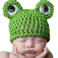 Lovely Baby Girls Boy Newborn Knit Crochet Frog Infant Hat Photo Prop Outfit 5HT08