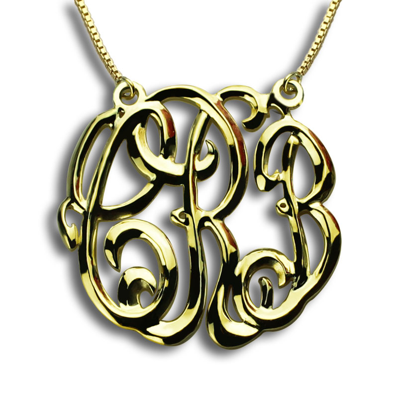 Gros Or Couleur 3 Initiales Monogramme Collier Personnalisé Nom Collier En Trois Dimensions Collier de Monogramme Nom Bijoux