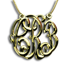 цена на Wholesale Gold 3 Initials Monogrammed Necklace Personalized Name Necklace Three-dimensional Monogram Necklace Name Jewelry