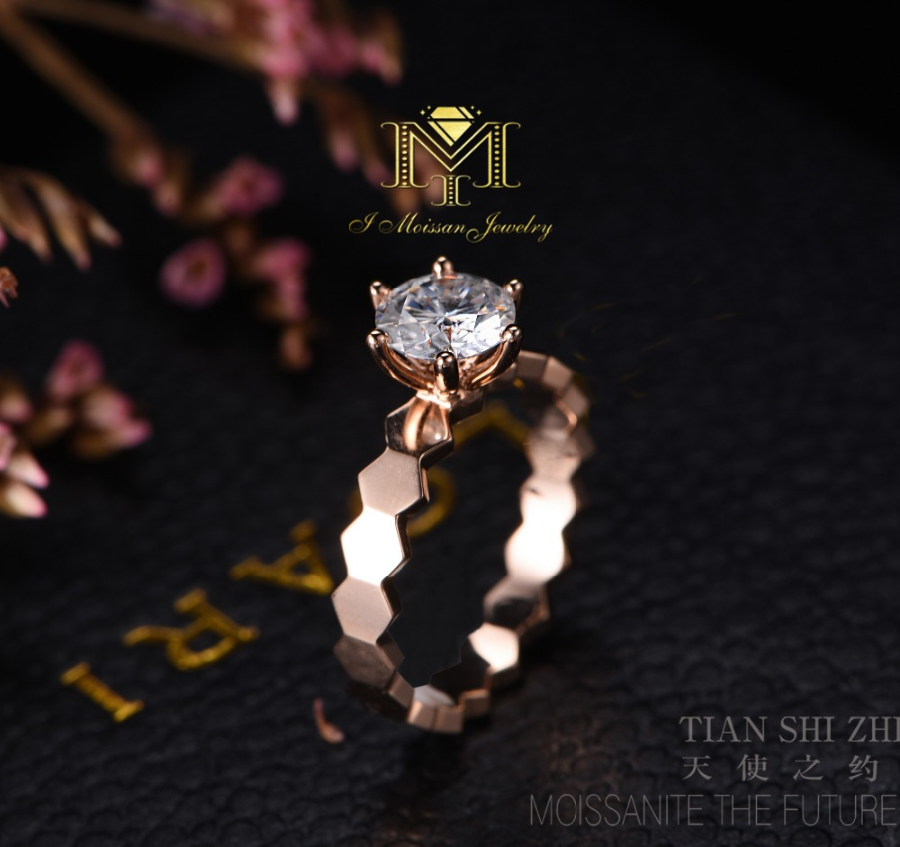 IMOISSAN Never Fade White Gold Genuine Moissanite Ring 1 carat Solid 18K Rose Gold Engagement Women Ring Diamond Bridal Jewelry genuine 18k 750 rose gold 1ct hearts arrows test positive lab grown moissanite diamond engagement pendant necklace chain women