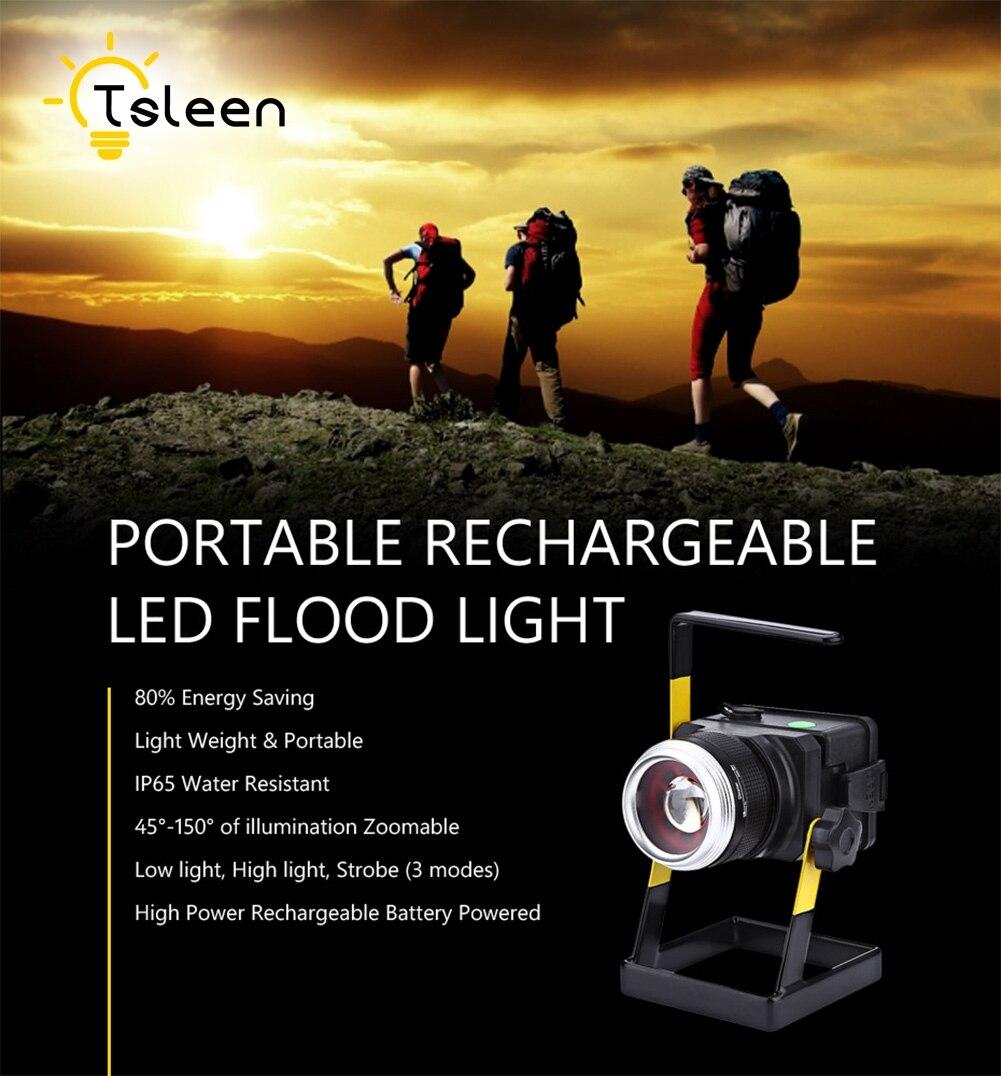 TSLEEN LED Flood Light 3x18650 Battery Zoomable Spot Lamp Projetor Camping Hiking Outdoor Emergency Lighting Refletor Led Jardim