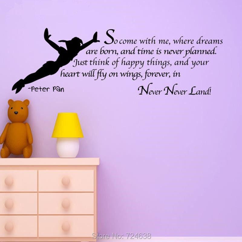 Online Shop Peter Pan Sticker Silhouette Fairy Tale Cartoon Wall