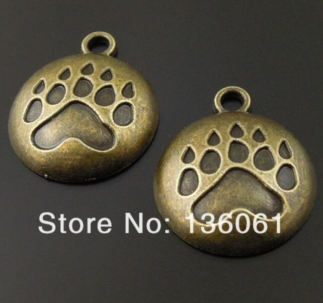 Vintage Bronze <font><b>Dog</b></font> Paw Print Cameo Setting House Drum Bullet Tree Poker Cross Gear Gold Anchor Charms Pendants For <font><b>Bracelets</b></font> image