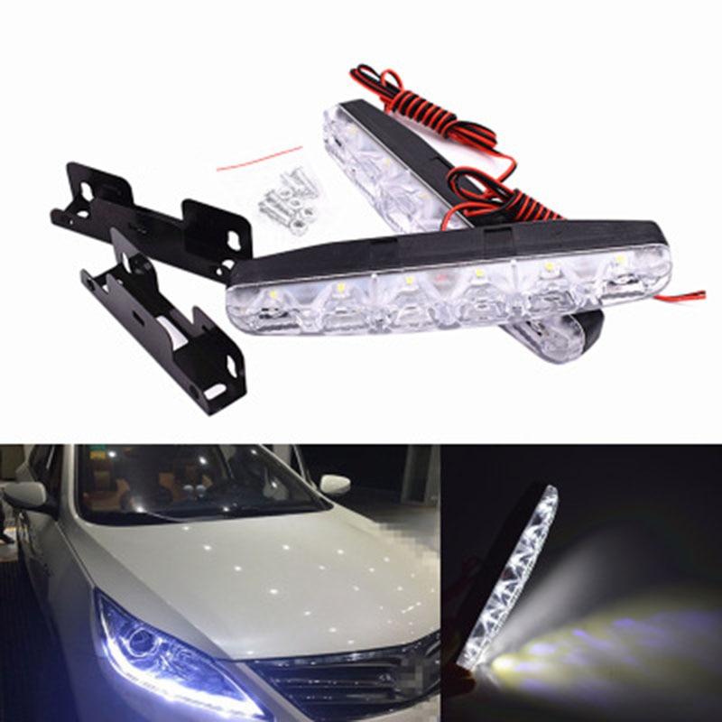 1 набор Универсальный качество товаров 6 светодиодов автомобилей дневного света DRL 12 В постоянного тока светодиодные лампы рулевого управления автомобилей Источник света автомобилей стайлинг