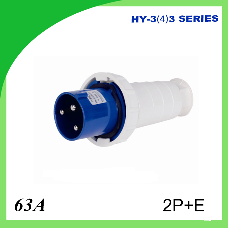 63A waterproof industrial plug IP44 2P+E voltage 220V~240V Plug , socket and connector 125a 220v 2p e industrial male plug 3pins with ce rohs 1 year warranty