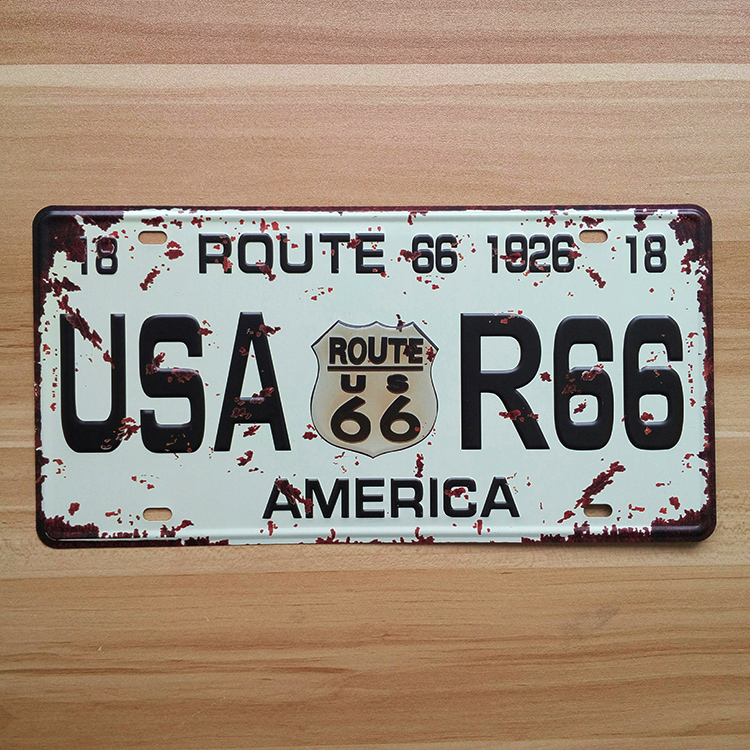 Vintage Route 66 America license plates garage poster metal painting house car store retro home decoration 15*30cm free shipping