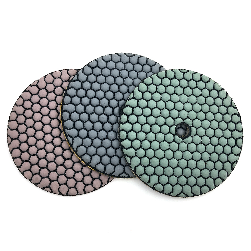 RIJILEI 7Pcs/Set 5 Inch Dry Polishing Pad Sharp Type 125mm Flexible Diamond Polishing Pad For Granite Marble Stone Sanding Disc