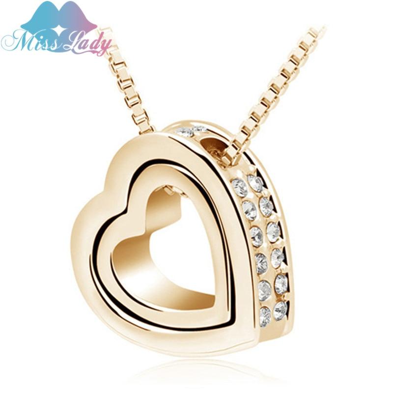 Senhorita senhora dia dos namorados cor de ouro design de cristal austríaco feminino colar de pingente de coração moda jóias para as mulheres