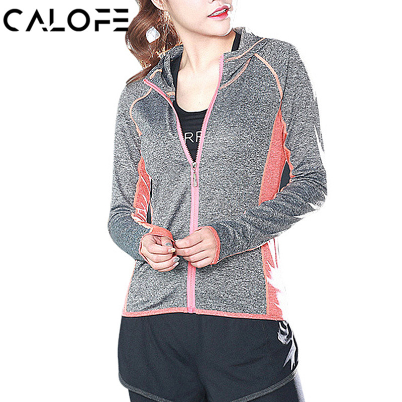 CALOFE Women Running Jacket Hooded Sport Jackets Outdoor Hoodie Coat Jogging Zipper Card ...