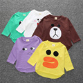 spring autumn cartoon color thick long sleeved shirt T-shirt cute animal bear rabbit children baby boy clothes roupa infantil